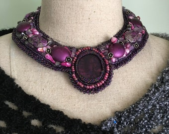 Purple Paua Shell, Bead Embroidered Collar ,Lamp Work Beads, Pink Cultured Pearls, Fluorite Nuggets