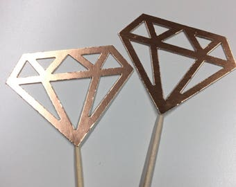 12 Rose Gold Foil Diamond Diamonds  Cupcake Toppers Topper Wedding Bride Engagement Ring