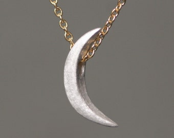 Crescent Moon Necklace in Sterling Silver with Gold Filled Chain