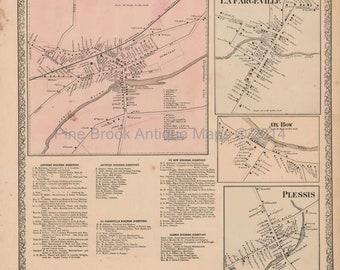 Lafargeville Oxbow Plessis New York Vintage Map Beers 1864 Original