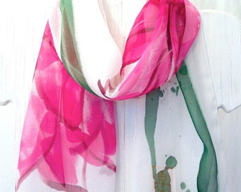 Hand Painted Silk Scarf, Spring Pink Garbera Daisy Flower Scarf, Floral Silk Scarf, Pink Silk Chiffon Scarf, 11x60 inch, Made to Order.