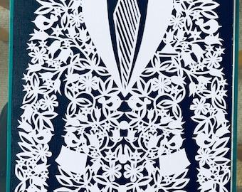 Handcut paper Grooms Jacket