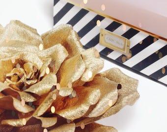 "Large Gold Crepe Paper Flower, Elegant Premium Italian Crepe Paper Rose for Wedding, Event and Home Decor, Metallic Gold Flower, 8-16"""