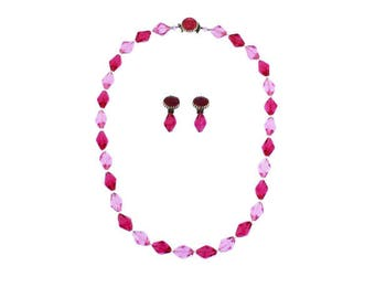 Long Pink Bead Necklace and Earring Set, Long Pink Necklace and Earrings, Chunky Pink Necklace and Earrings