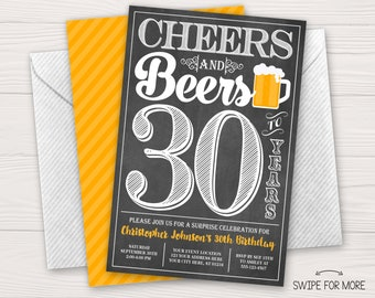 Cheers and Beers to 30 Years Birthday Invitation | 30th, 40th, 50th Surprise Birthday Party | Personalized & Printable