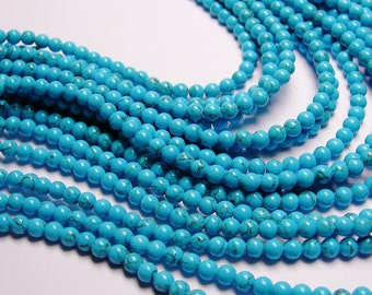 Howlite turquoise - 4mm round beads -1 full strand - 96 beads - quality  AA