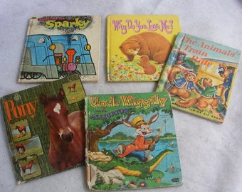 5 Vintage Book Cover Boards from Children's Story Books Uncle Wiggily Animals Pony DIY Craft Supply for Journal Notebook Upcycle - 6478e