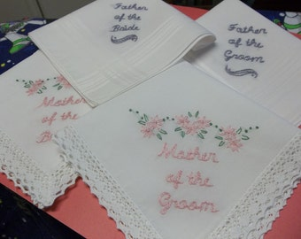Mother /father of bride and groom wedding handkerchiefs, set of 4, hand embroidered, wedding favors, wedding colors welcome, family