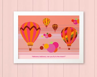 BALLOONS - Children's / kid's / baby's personalised framed picture - Children's wall art - Baby's bedroom wall art - Child's gift