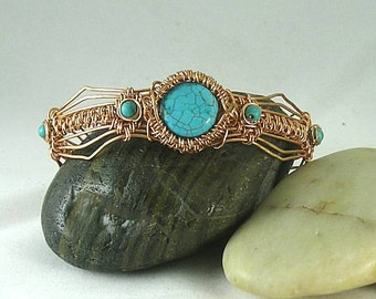 Aztec Egyptian Native American Turquoise Woven Wire Bracelet