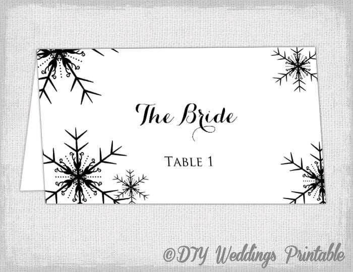 Printable Snowflakes Place Card Template DIY - Name place cards template