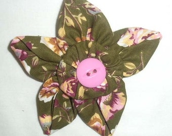 Fabric Flower Brooch or Pin in Pink and Dark Green Floral with Vintage Button F-23