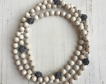 Long Wrap Beaded Necklace with Beige Neutral Gemstones and Metallic Spacers with Pave Crystal Gray ball.