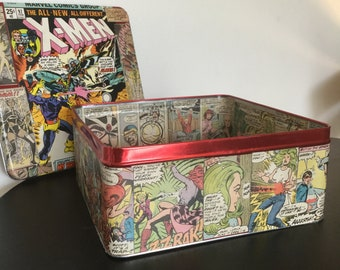 X-men custom comic book decopauge tin storage box