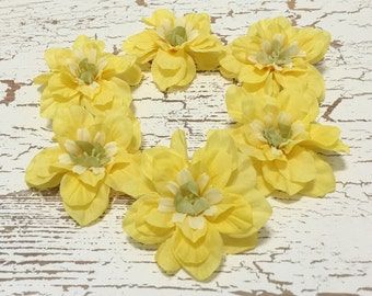 6 Yellow Delphinium Blossoms - 2.5 Inches - Artificial Flowers, Silk Flowers, Flower Crown, Embellishments, Millinery, Hair Accessories, Hat