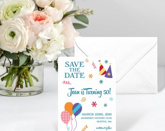 Birthday Bash - Card - Save the Date - Includes Back Side Printing + Envelope