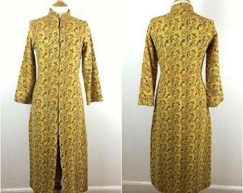 Vintage 1970s Coat - 70s Maxi Coat - Yellow Cotton Hand Woven - Made in India - Bohemain Hippie - Medium - UK 12-14 / US 8-10 / EU 40-42