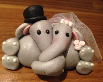 ELEPHANT BRIDE and groom WEDDING edible cake topper
