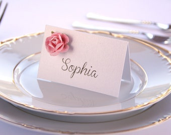 Floral Place Cards, Wedding Placement Cards, Wedding Place Cards, Paper Flower Place Cards, Wedding Table Decorations