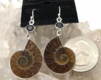 Ammonite and Black Onyx Earrings