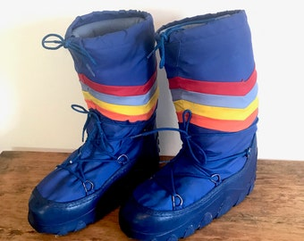 Vintage Moon Boots Blue Red Gray Yellow Orange Striped Moon Boots Size Women 7 - 8