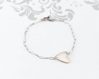 Hammered 14K Gold Heart / Oxidized Sterling Bracelet