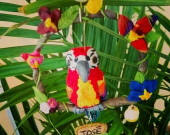 Polymer clay Tiki bird wall decor