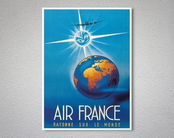 Air France  Rayonne sur Le Monde - Airline Travel Poster - Poster Print, Sticker or Canvas / Gift Idea