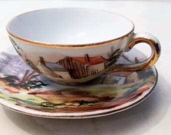 Vintage Hand Painted Japanese Cup and Saucer with Water Donkey and Village Scene