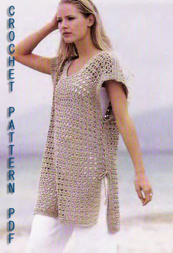 Crochet pattern instruction tunic cover up sundress beach wear crochet pattern instruction tunic cover up sundress beach wear pullover dress dt1010fo