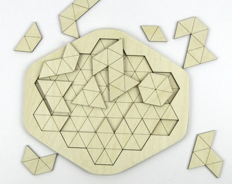 Triangles Laser Cut Wooden Geometric Puzzle - 16 Pieces