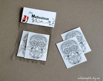Skull Tattoo - Day of the Dead Temporary Tattoos - Sugar Skull Tattoos - Mexican Art Tattoo - Halloween Body Art - Set of 2 Skull Tattoos