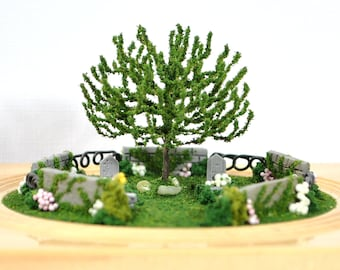 Two lovers together again - Miniature Cemetery Mini Garden Cemetery Memorial Garden Cemetery Desktop Garden Handmade Diorama
