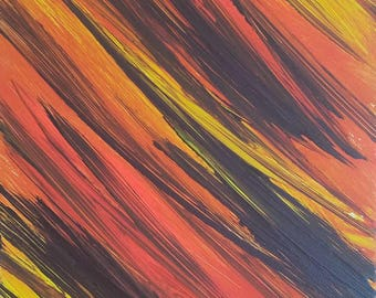 """Orange, Yellow and Black Original Acrylic Abstract Painting on Canvas """"Series 4 LXII"""" Wall Art, Home Decor, Wall Hanging, Unconventional"""