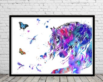 Horse, andalusian horse, watercolor print, watercolor horse, animal print, horse and butterfly dragonfly, horse art, horse, animal (3048b)