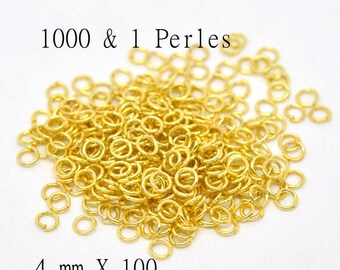 100 jumprings gold colored size 4mm rings