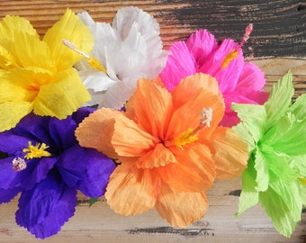 Mexican paper flower etsy mexican paper flowers set of 6 hibiscus we make special orders mightylinksfo