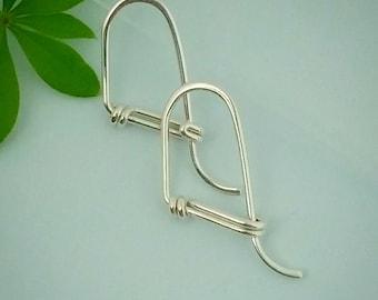 Small Sterling Hoop Earrings, Swoopy Hoops, Sleeper Hoops, Gift for Her Under 50