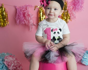 Baby Girls First Birthday Panda Tutu Outfit Headband Personalized Embroidered Name Pink Black  sc 1 st  Etsy & Panda tutu | Etsy