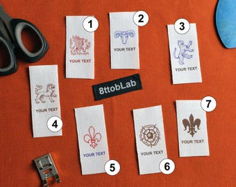 Custom clothing labels tags heraldic classic