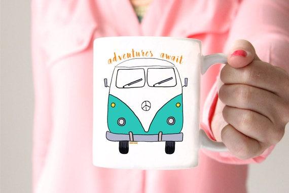 VW Bus Mug -  15oz Coffee and Tea Mug - Adventures Await Mug - Uplifting Living - Ceramic Mug - Drinkware - Coffee - Tea  Printed in USA