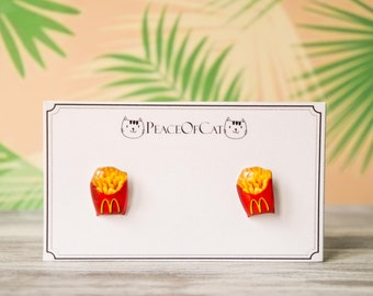 fries earrings , french fry earrings , gift for foodie , junk food lover gift , food earrings , junk food jewelry , junk food studs