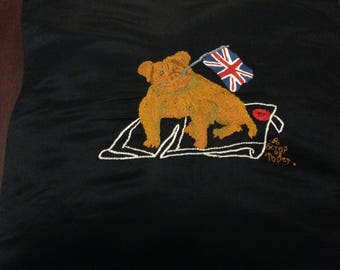 Vintage hand embroidered cushion cover . One of a kind . Quirky British Bulldog design on black satin