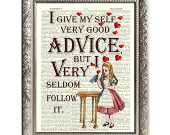 Vintage Art Print Alice in Wonderland Original Book Page Good Advice -D-AIW-11