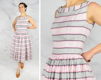"1950s Pink + Black Striped Cotton Sun Dress with Full Skirt 24"" Waist Sleeveless 50s Dress"