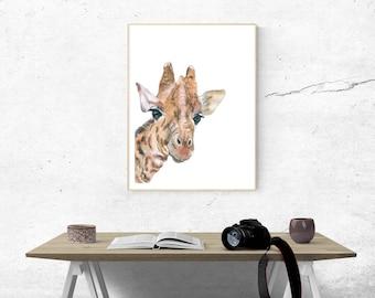 Printable, Instant Digital Download Art - Watercolour Giraffe, Wall Art, Home Decor