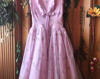 FREE Shipping * * * 1950's 50's Small Size Formal Prom Vintage Retro Dress
