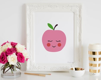Apple Art Print, Healthy Art, Fruit Art Print, Fruit Wall Decor, Nursery Wall Art, Kitchen Wall Art, Apple Print