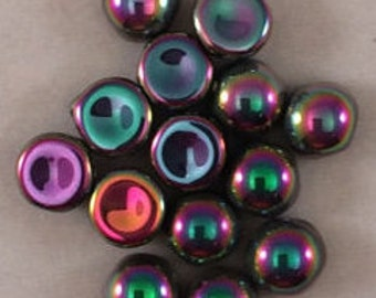 2-Hole Cabochon Beads, 6mm, Crystal Full Vitrail Green, 00030-29443, 12 Beads, Czech Glass
