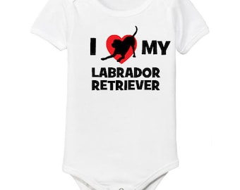 I Love My Labrador Retriever Dog Infant Bodysuit One-Piece  Toddler T-shirt Heart Cute Welcome Baby Shower Gift Idea Lab Lover